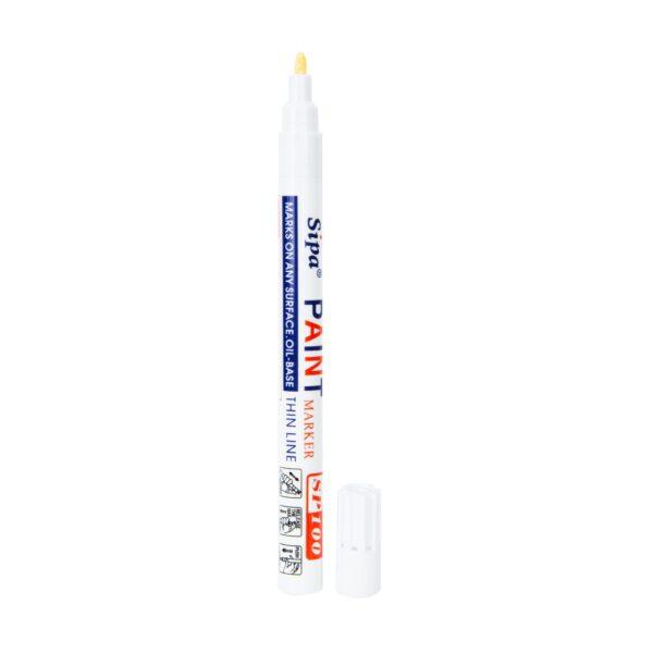 Pisak z farbą SP100, cienki, metalowa obudowa, kolor: biały
