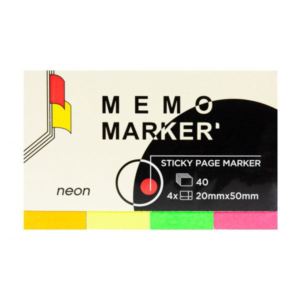 Zakładka economy Memo Index, 20x50mm brilliant, 4 kolory po 40 kartek