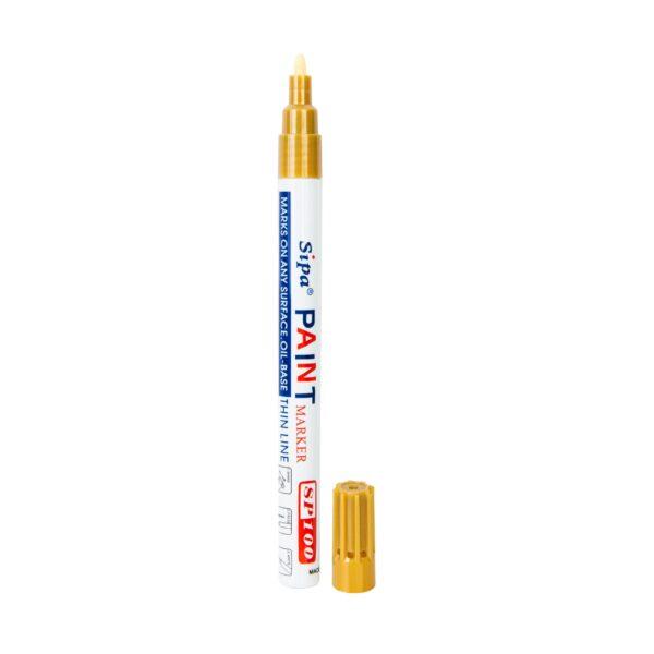 Pisak z farbą SP100, cienki, metalowa obudowa, kolor: złoty