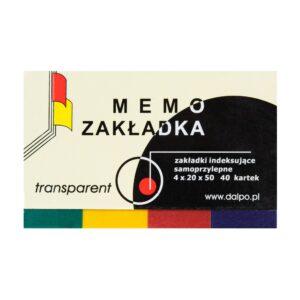 Zakładka transparent 20x50mm w okładce, 4 kolory po 40 kartek