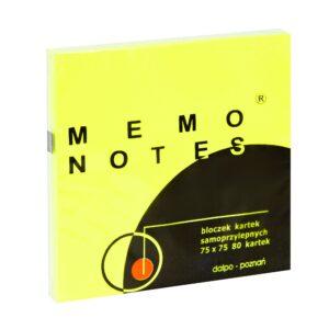 Notes 75x75 mm, 80 kartek, żółty brilliant