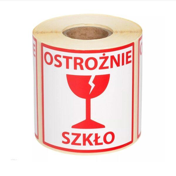 Etykiety z nadrukiem Ostrożnie szkło