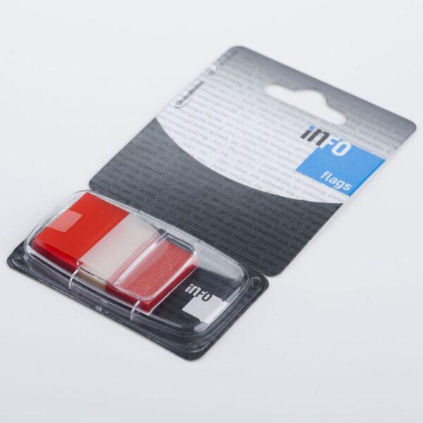 Zakładka samoprzylepna INFO FLAGS w podajniku 25x43mm/50 kartek, czerwony, transparent