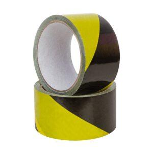 Czarno-żółta taśma ostrzegawcza PVC