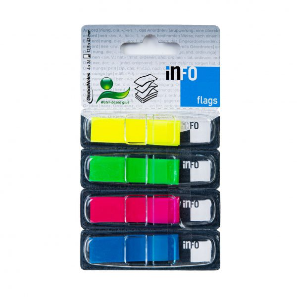 Zakładka samoprzylepna INFO FLAGS w podajniku 12,5x43mm/36 kartek, 4 kolory: żółty, zielony, różowy, niebieski
