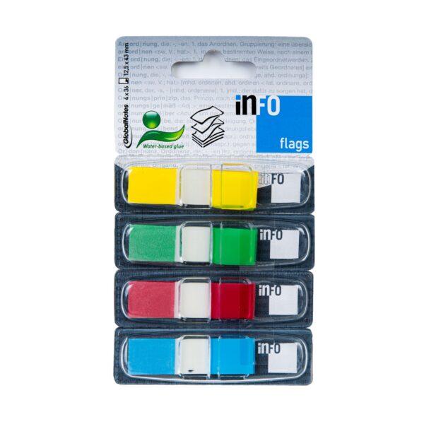 Zakładka samoprzylepna INFO FLAGS w podajniku 12,5x43mm/36 kartek, 4 kolory
