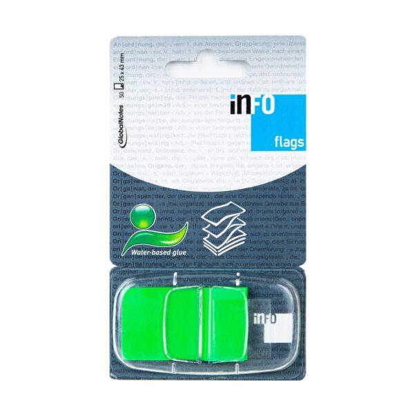 Zakładka samoprzylepna INFO FLAGS w podajniku 25x43mm/50 kartek, zielona