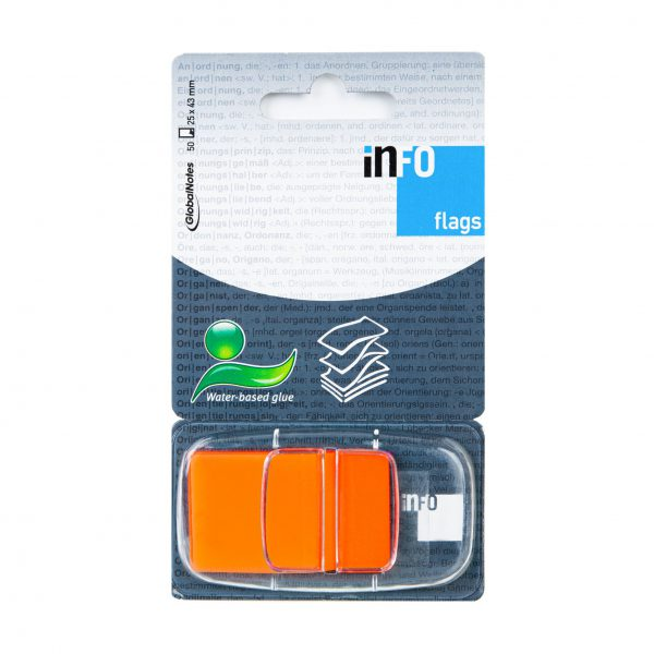 Zakładka samoprzylepna INFO FLAGS w podajniku 25x43mm/50 kartek, pomarańczowa