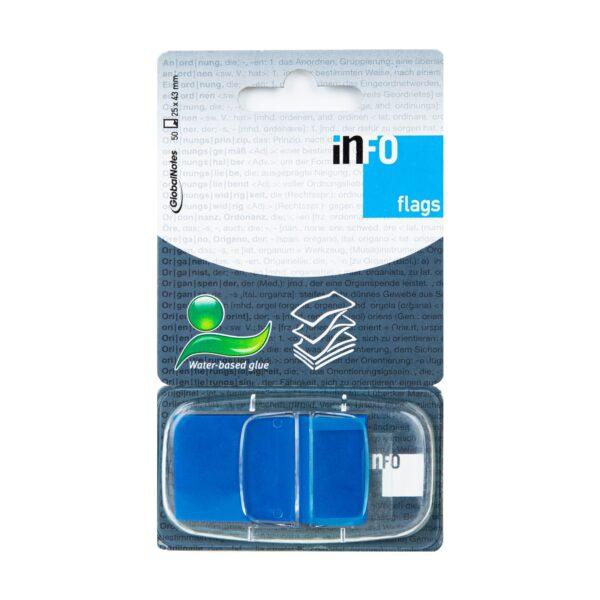 Zakładka samoprzylepna INFO FLAGS w podajniku 25x43mm/50 kartek, niebieska