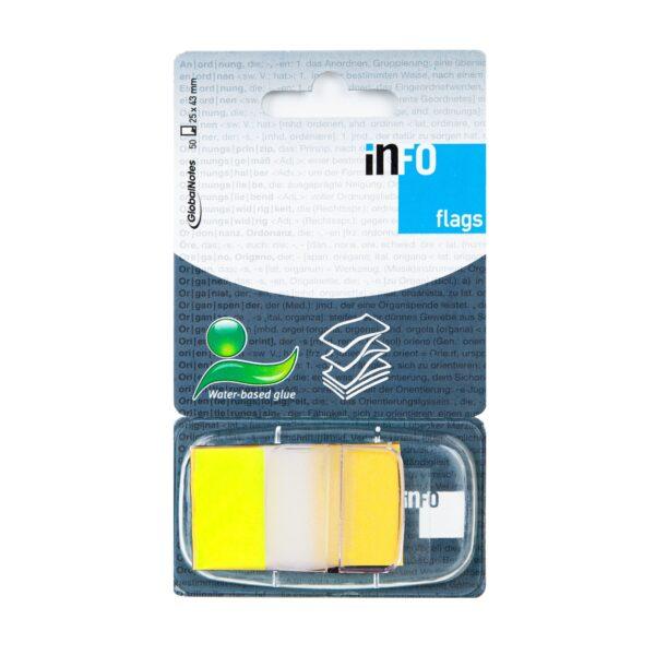 Zakładka samoprzylepna INFO FLAGS w podajniku 25x43mm/50 kartek, żółty, transparent