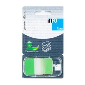 Zakładka samoprzylepna INFO FLAGS w podajniku 25x43mm/50 kartek, zielony, transparent