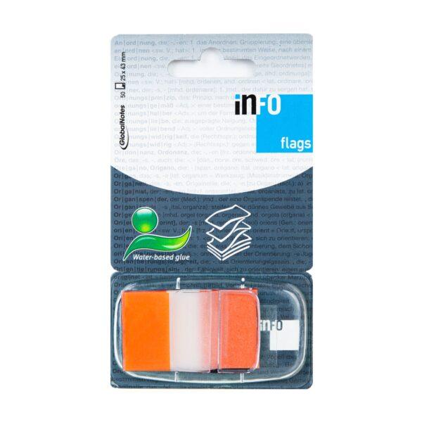 Zakładka samoprzylepna INFO FLAGS w podajniku 25x43mm/50 kartek, pomarańczowy, transparent