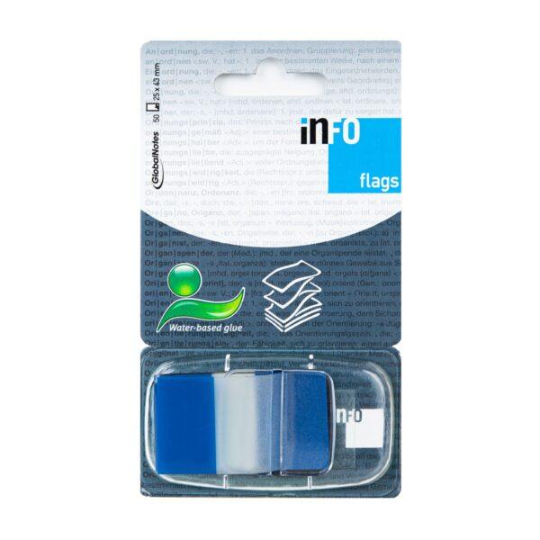 Zakładka samoprzylepna INFO FLAGS w podajniku 25x43mm/50 kartek, niebieski, transparent