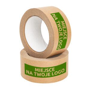 Taśma z nadrukiem własnym 50/50m pakowa papierowa brązowa solvent (druk nieścieralny, 1 kolor, własny nadruk)