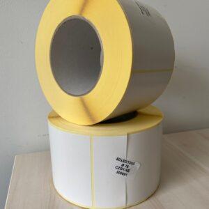 Etykiety termotransferowe biała 80/80 mm, gilza 76mm, 1000 szt./rolka